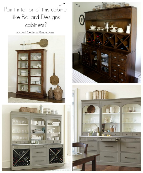 Paint the interior of this cabinet like Ballard Designs cabinets? via somuchbetterwithage.com