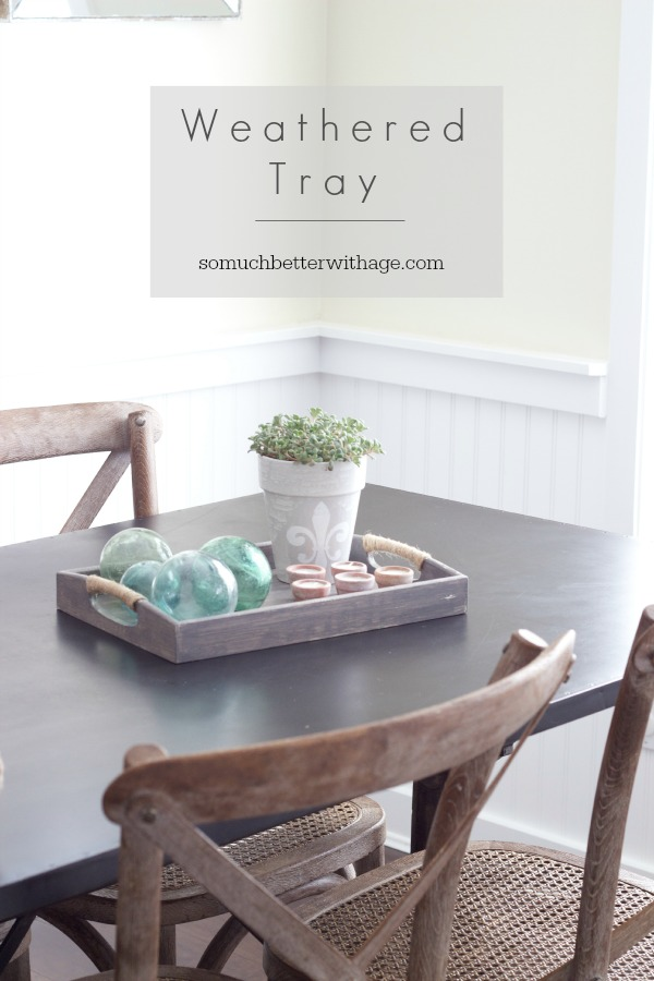Weathered tray using a wooden tray and craft paints and rope.  Super easy DIY project.