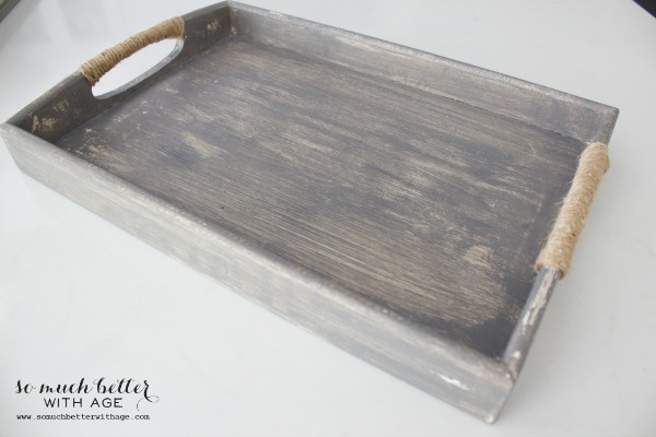 Weathered tray using a wooden tray and craft paints and rope
