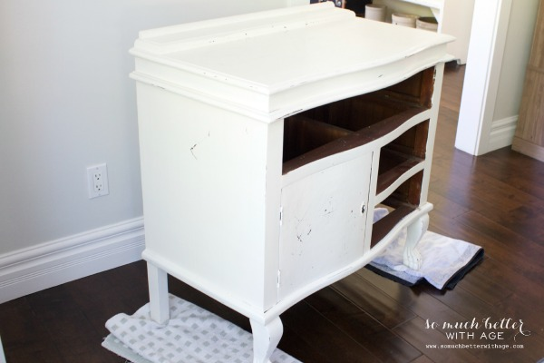 My chippy dresser resembles cowhide / painted white dresser - So Much Better With Age