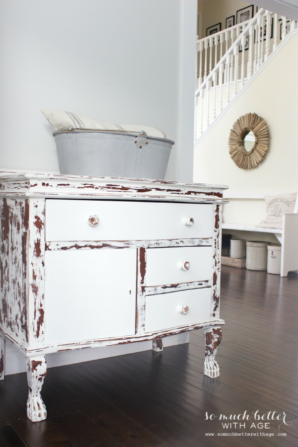 My chippy dresser resembles cowhide / painted white drawers in dresser - So Much Better With Age