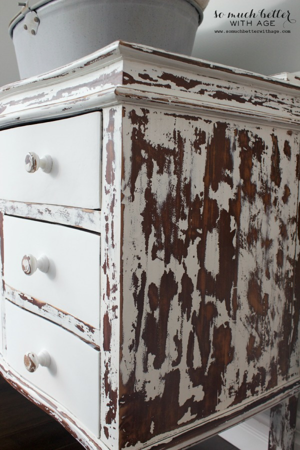 My chippy dresser resembles cowhide / up close picture of cowhide dresser - So Much Better With Age