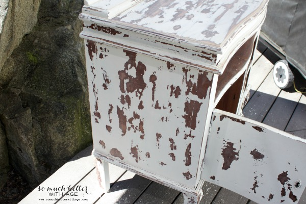 My chippy dresser resembles cowhide / sanding the dresser outside - So Much Better With Age