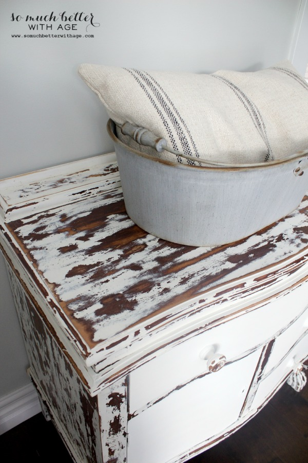 My chippy dresser resembles cowhide / pillow on top of dresser - So Much Better With Age