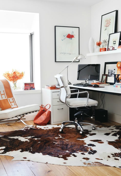 My chippy dresser resembles cowhide / cowhide rug in office - So Much Better With Age
