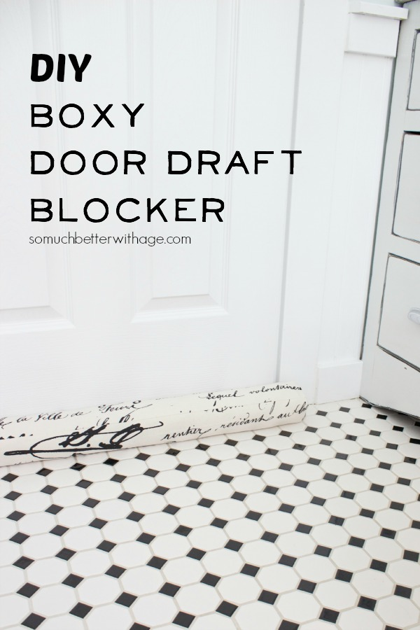 DIY boxy door draft on checkered floor.
