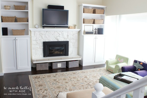 Paint your 80s fireplace with the painted fireplace in the living room.