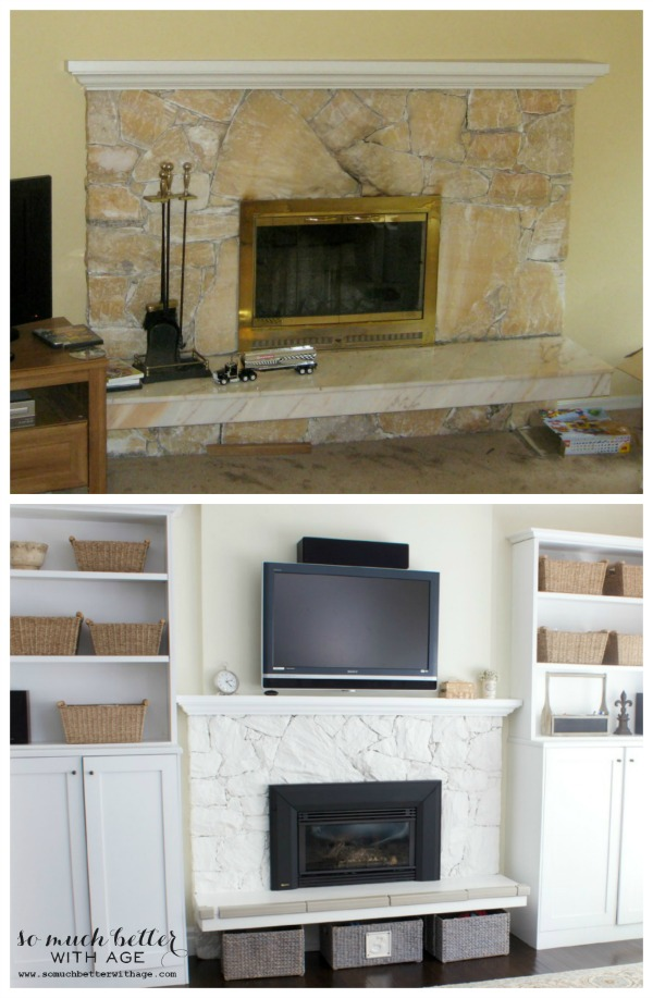 The before peach fireplace mantel and the after white painted fireplace mantel.