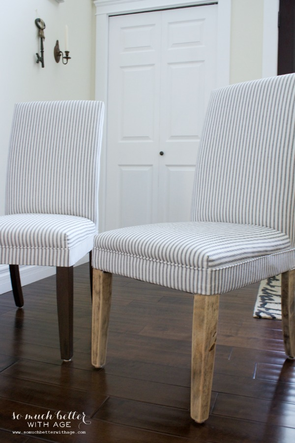 Rustic dining chairs / chairs being sanded - So Much Better With Age