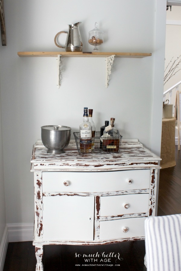 Rustic dining chairs / distressed white dresser - So Much Better With Age