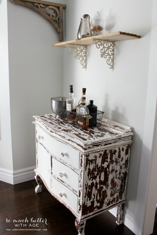Rustic dining chairs / metal bracket shelf - So Much Better With Age