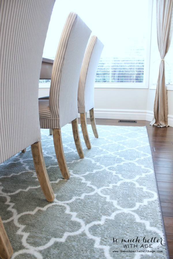 Rustic dining chairs / wooden floor and rug - So Much Better With Age