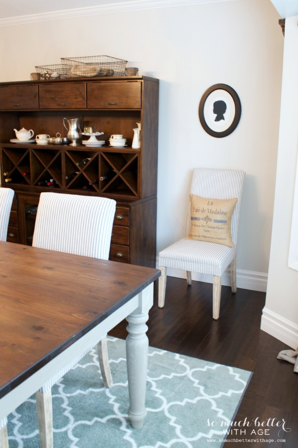Rustic dining chairs / pinstripe fabric - So Much Better With Age