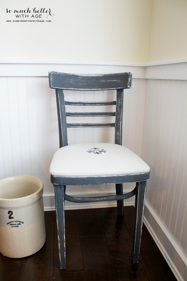 Upholstered chalk paint chair by somuchbetterwithage.com