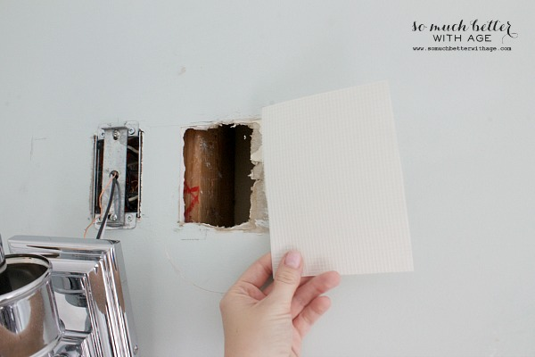 How to patch drywall and home decor techniques that fool the eye / patch piece for hole in wall - So Much Better With Age