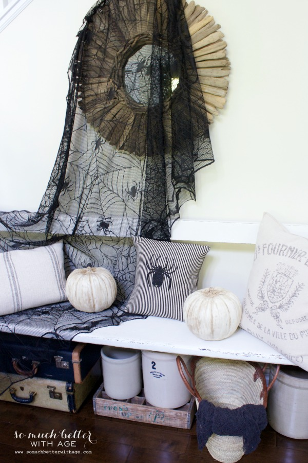 Easy Halloween Pillow / black fabric hanging on mirror - So Much Better With Age