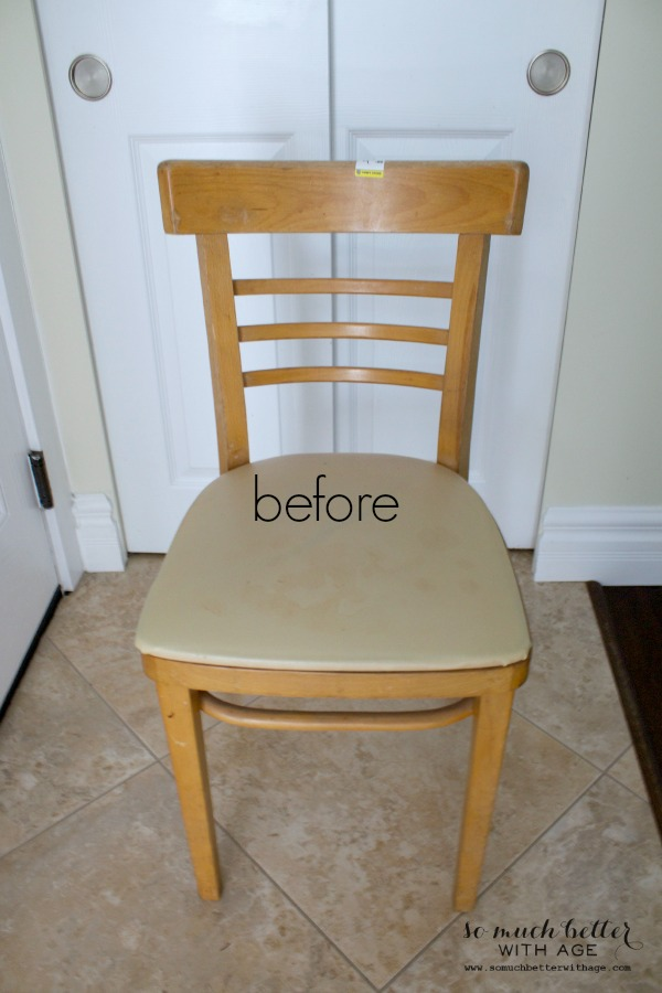 French distressed chair and easy upholstery tutorial/before - So Much Better With Age