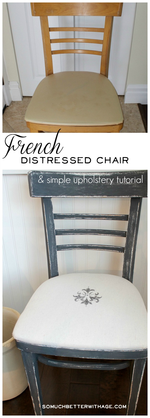 French distressed chair and simple upholstery tutorial