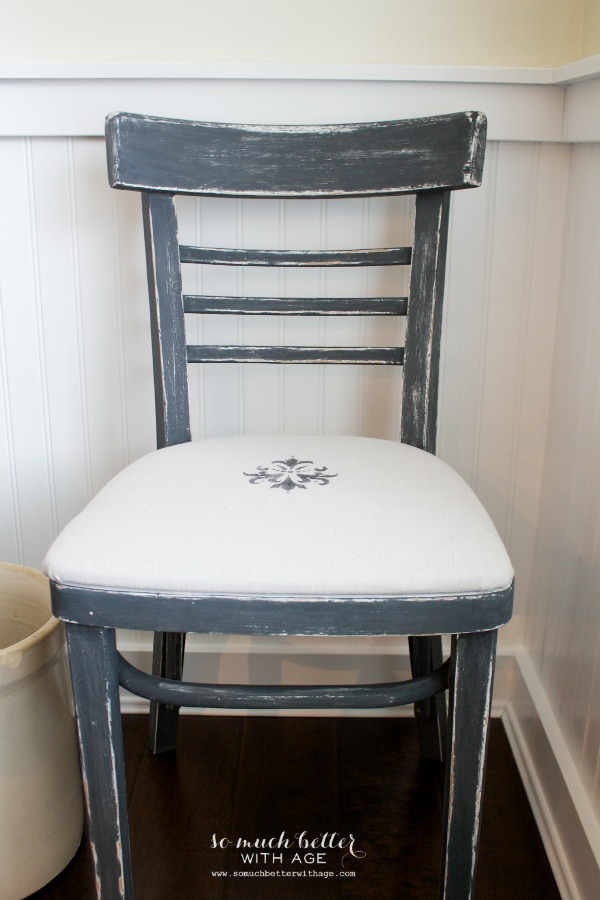 French upholstered chalk paint chair by somuchbetterwithage.com
