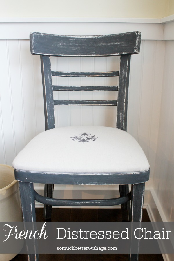 French distressed chair plus easy upholstery tutorial by somuchbetterwithage.com