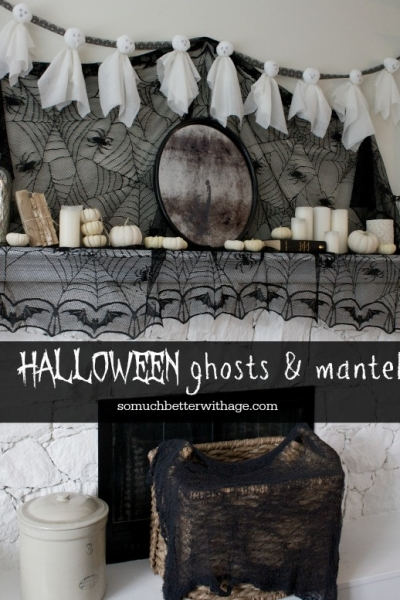 Halloween Ghosts and Mantel