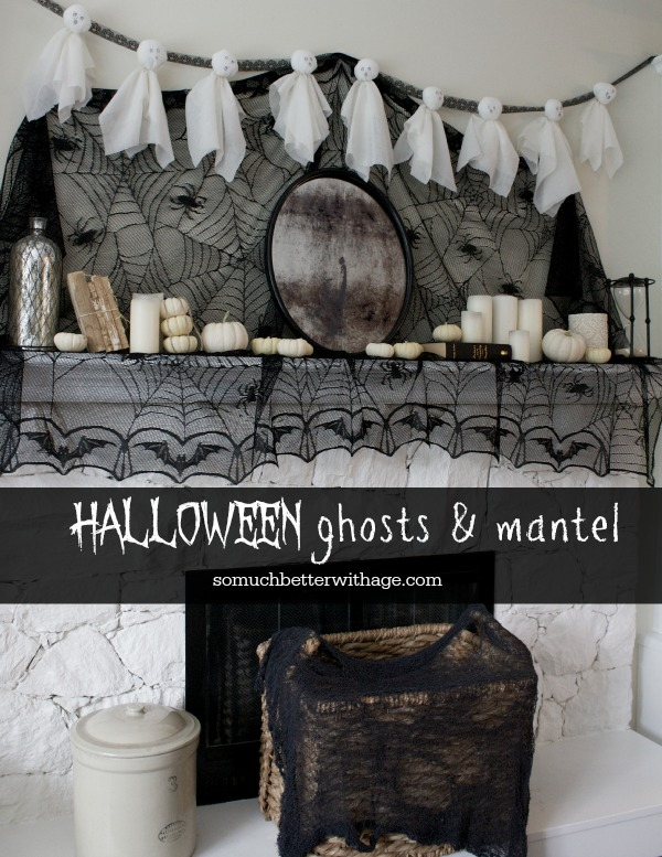 Halloween Ghosts and mantel by somuchbetterwithage.com