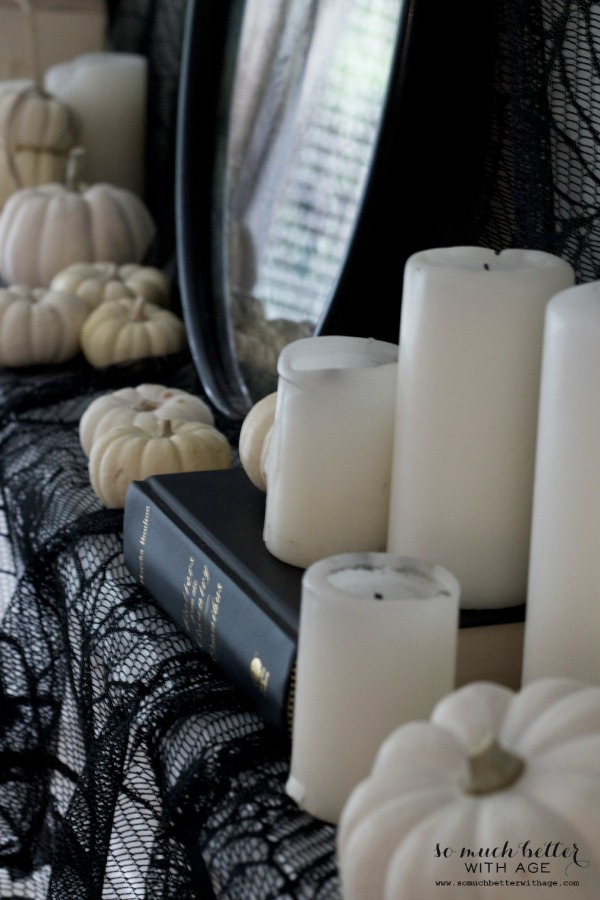 Halloween ghosts and mantel / candles and white pumpkins - So Much Better With Age