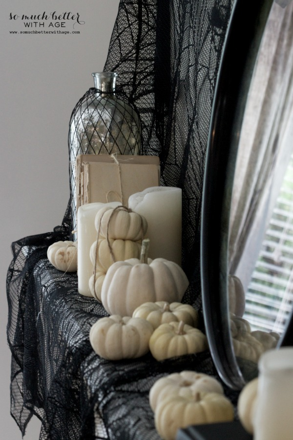 Halloween ghosts and mantel / decorated mantel - So Much Better With Age