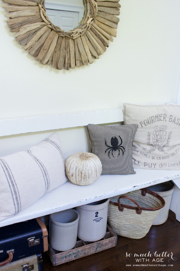 Easy Halloween Pillow / pillow on bench with mirror - So Much Better With Age