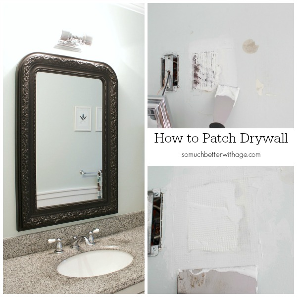 How to patch drywall and home decor techniques that fool the eye / before picture of drywall - So Much Better With Age