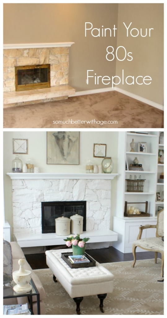 Paint your 80s fireplace before and after graphic.