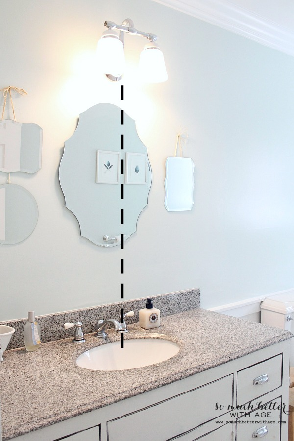 How to patch drywall and home decor techniques that fool the eye / showing the bathroom with a diagram - So Much Better With Age