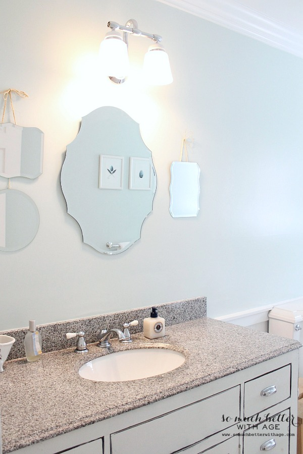How to patch drywall and home decor techniques that fool the eye / picture of bathroom - So Much Better With Age