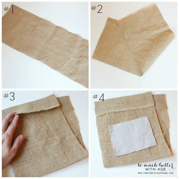 DIY Burlap & Drop Cloth Gift Bag / folding the burlap - So Much Better With Age