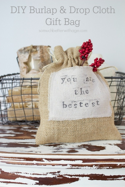 DIY Burlap & Drop Cloth Gift Bag