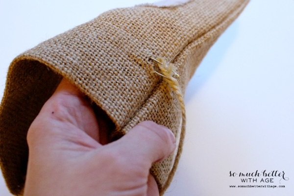 DIY burlap & cloth gift bag / pushing the twine through the burlap - So Much Better With Age