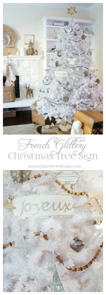 French Glittery Christmas Tree Sign graphic.
