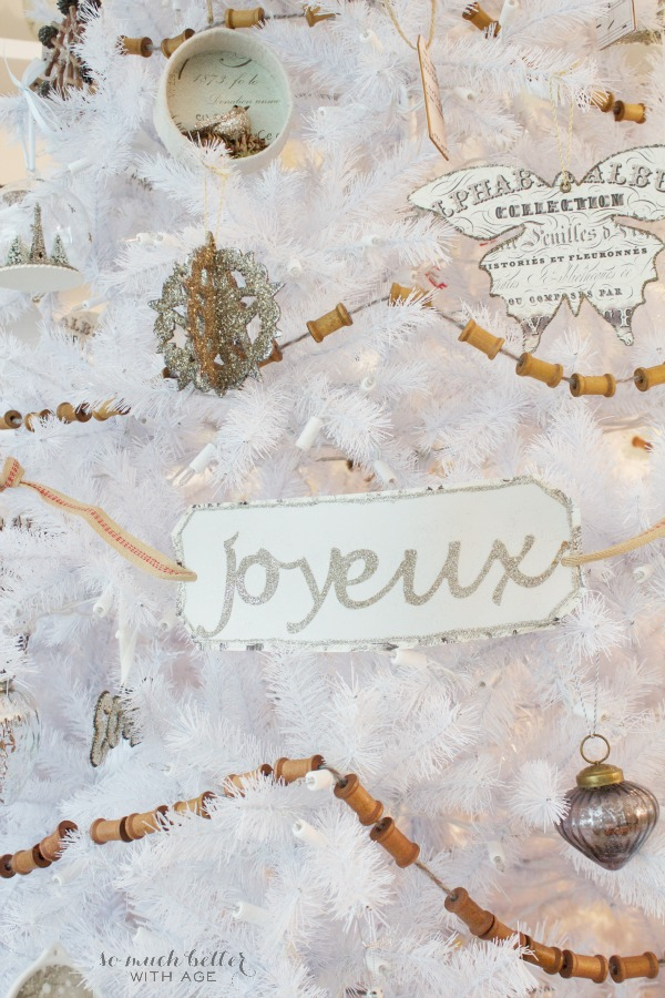 French Glittery Christmas Tree Sign Using Silhouette / wooden garland - So Much Better With Age