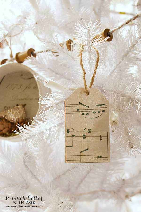 Sheet music wooden tag Christmas ornaments / ornaments on white Christmas tree - So Much Better With Age
