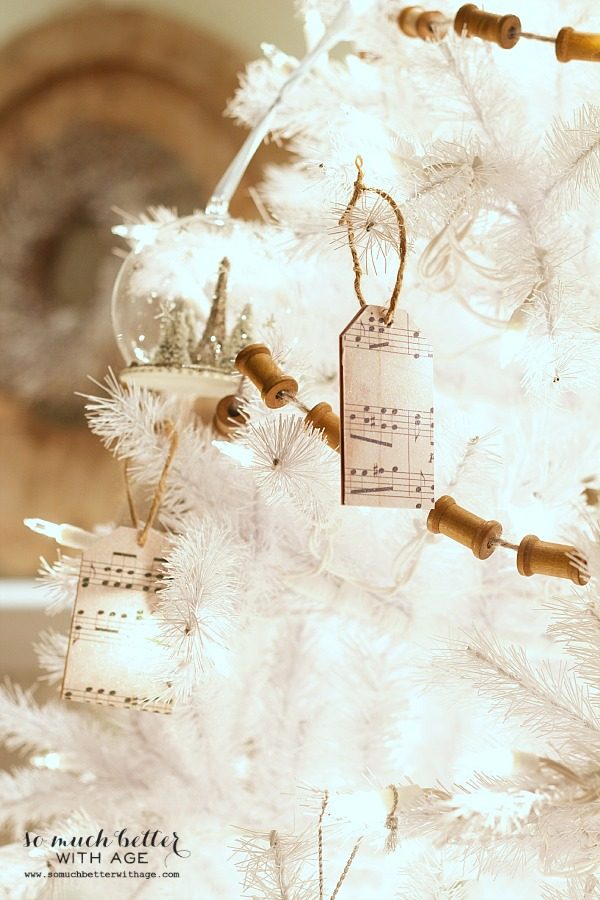 Sheet Music Wooden Tag Ornaments / decorated Christmas tree - So Much Better With Age
