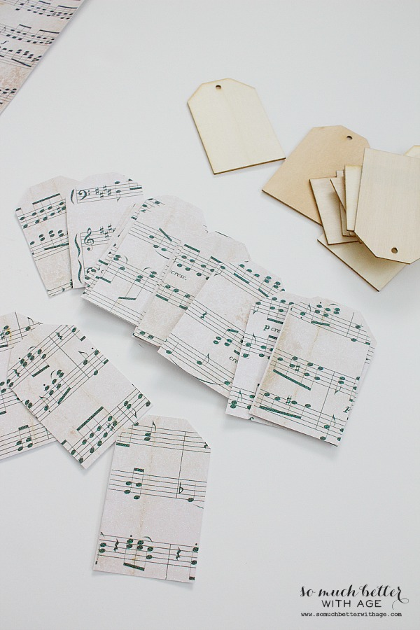 Sheet music wooden tag ornaments / tracing out the sheet music tags - So Much Better With Age