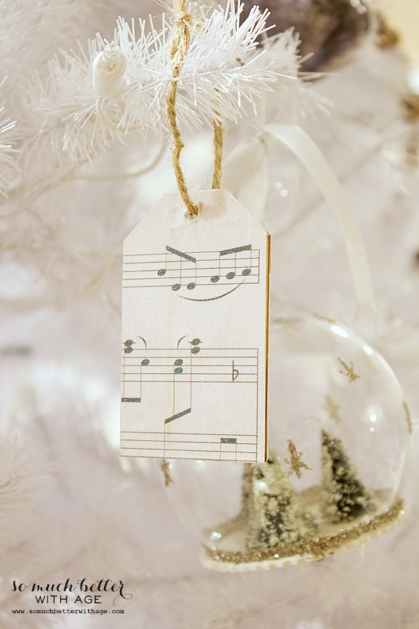 Sheet Music Wooden Tag Ornaments / music tags and snow globe on Christmas tree - So Much Better With Age