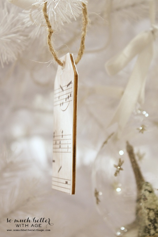Sheet music wooden tag ornaments / wooden edges on ornament - So Much Better With Age