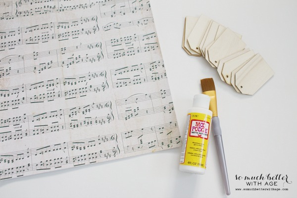 Sheet music wooden tag ornaments / the supplies needed - So Much Better With Age
