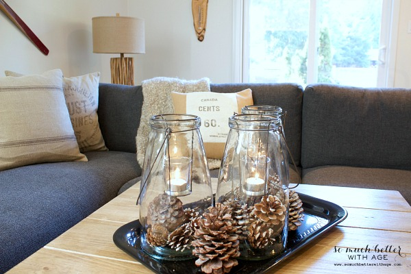 Rustic finds from Kirkland's / Pinecones in lanterns - So Much Better With Age