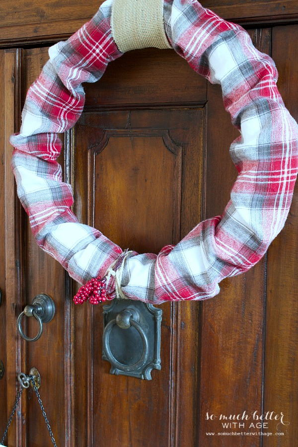 Plaid Christmas wreath - So Much Better With Age