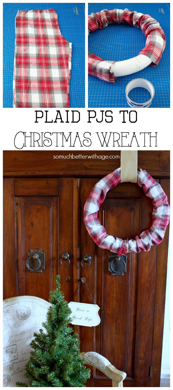 Plaid PJs to Christmas wreath / wreath hanging on door - So Much Better With Age