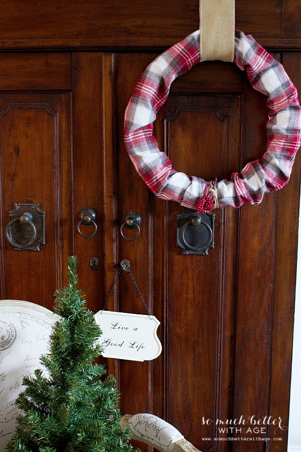 Red Plaid PJs to wreath / burlap ribbon - So Much Better With Age