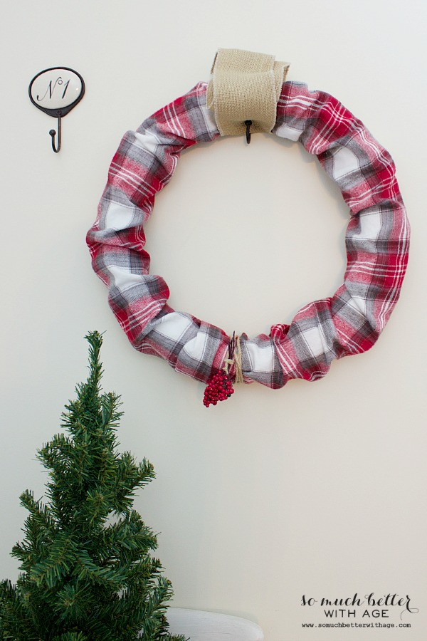 Plaid PJs to wreath / hanging on wall with Christmas tree - So Much Better With Age