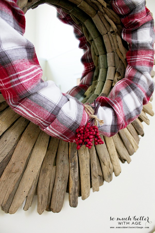 Red Plaid PJs to wreath / wreath hanging on mirror - So Much Better With Age